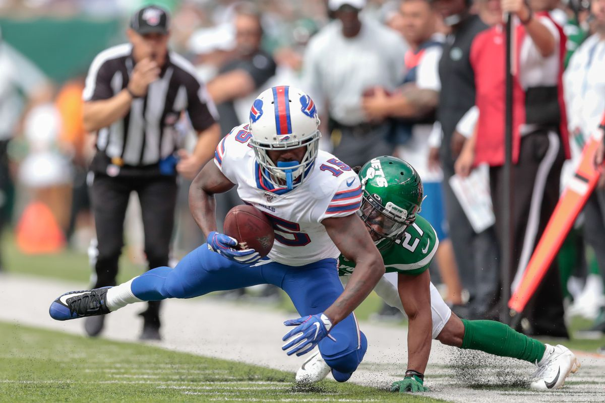 Buffalo Bills wide receiver John Brown is tackled by New York Jets cornerback Darryl Roberts during the second half at MetLife Stadium.