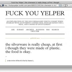 """<a href=""""http://eater.com/archives/2011/08/02/website-of-the-day-fck-you-yelper.php"""" rel=""""nofollow"""">Website of the Day: F*ck You Yelper</a><br />"""