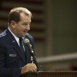 Maj. Gen. H. Brent Baker Sr. speaks during a change of command ceremony at Hill Aerospace Museum, Monday, Sept. 8, 2014. Brig. Gen. Carl A. Buhler assumed command of the Ogden Air Logistics Complex from Baker.
