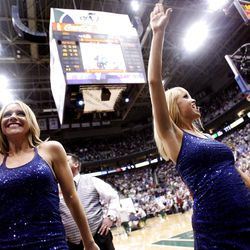 Utah Jazz dancers cheer during a time out as the Utah Jazz and the Phoenix Suns play Tuesday, April 24, 2012 in Energy Solutions arena.