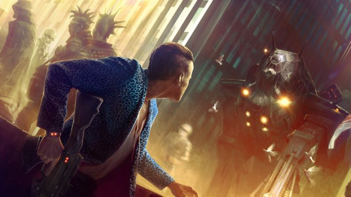 A female punk in a blue jacket faces down a massive mech while mohawked bystanders move along a crowded city street.