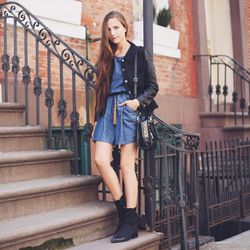 """Bethany of <a href=""""http://outofabook.blogspot.com/"""">Snake's Nest</a> is wearing a Theory dress via Crossroads Trading, a Viparo jacket, a Shoemint bag and vintage Kenneth Cole boots."""