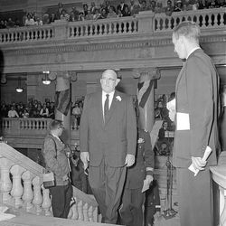 George Dewey Clyde climbs the east steps of the State Capitol to be sworn in on  Jan. 7, 1957.