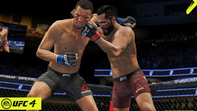 Masvidal and Diaz in the clinch in EA Sports UFC 4