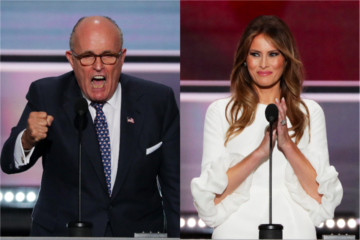 Rudy Giuliani and Melania Trump at the 2016 Republican National Convention.