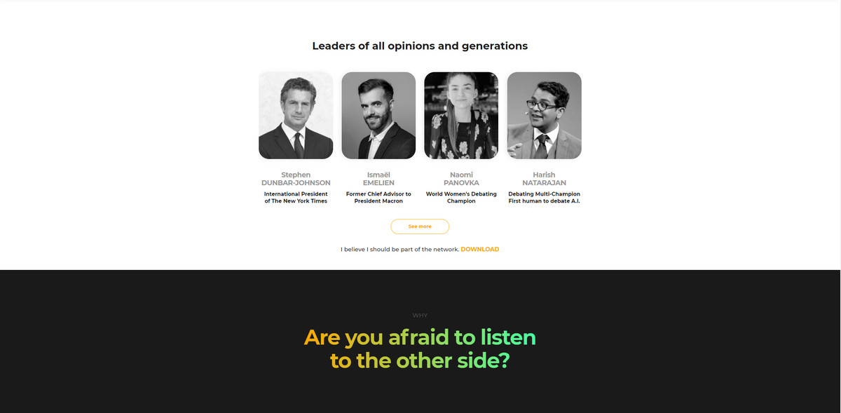 """A screenshot from Polemix's website showing four people beneath the heading """"Leaders of all opinions and generations."""" Below the pictures appears a question: """"Are you afraid to listen to the other side?"""""""