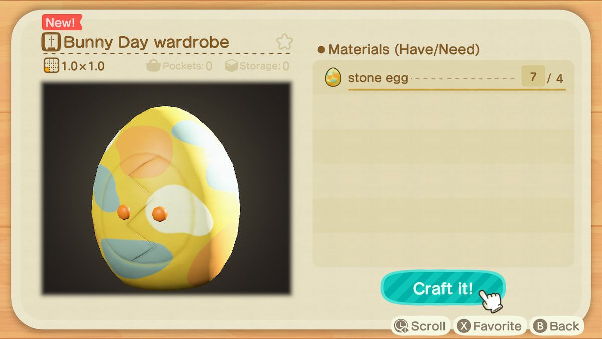 A crafting screen in Animal Crossing showing how to make Bunny Day Wardrobe