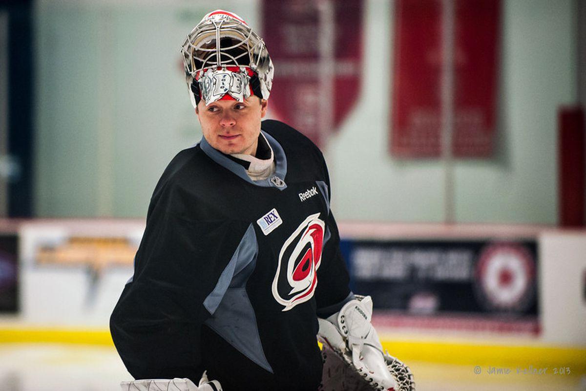 Anton Khudobin at Hurricanes practice