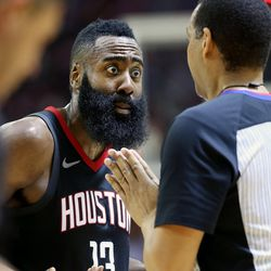 Houston Rockets guard James Harden (13) complains to referee Bennie Adams (47) as the Utah Jazz and the Houston Rockets play Game 2 of the Western Conference semifinals at the Toyota Center in Houston on Wednesday, May 2, 2018.