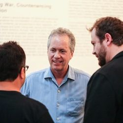 Mayor Greg Fischer chats with judge Anthony Lamas of Seviche and Cochon founder Brady Lowe.
