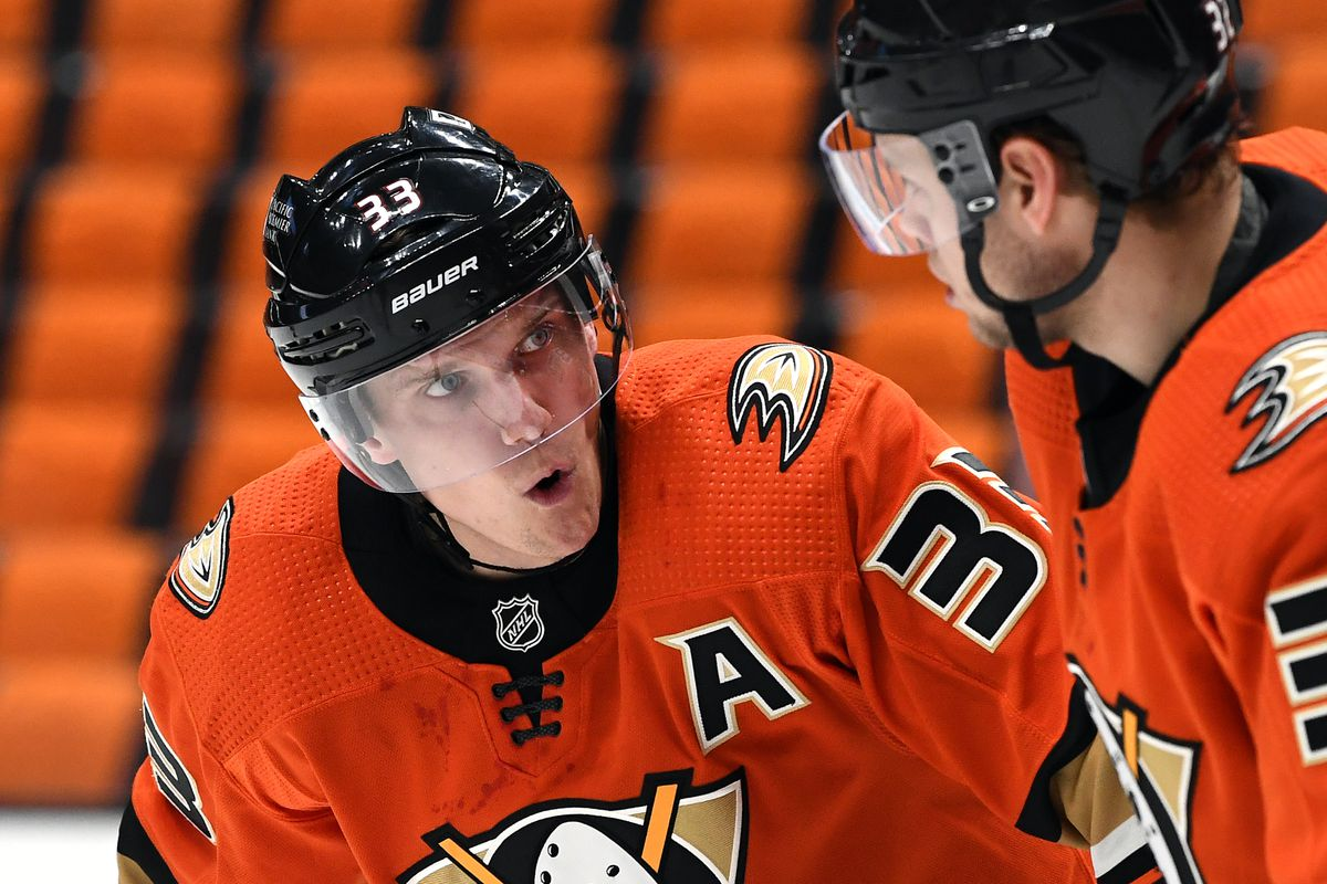 Anaheim Ducks Right Wing Jakob Silfverberg (33) on the ice during a break in the action of the third period of a game against the Minnesota Wild played on February 18, 2021 at the Honda Center in Anaheim, CA.