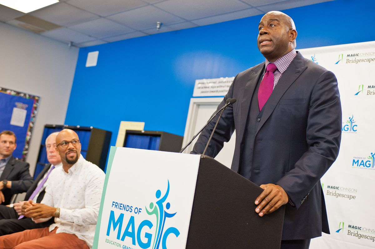 Magic Johnson attended a press conference at a Bridgescape school in Chicago's North Lawndale community in 2013 to announce the launch of his charity.