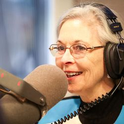 Democrat Dr. Kathie Allen gives her opening statement during an on-air debate between 3rd Congressional District candidates hosted by KSL Newsradio in Salt Lake City on Tuesday, Oct. 10, 2017. Allen is vying to fill the remaining year of former GOP Rep. Jason Chaffetz's term. Chaffetz, now a Fox News contributor, resigned June 30.