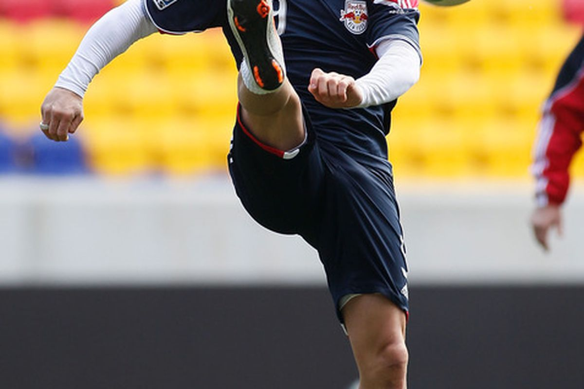 HARRISON, NJ - MARCH 15:  Luke Rodgers #9 of the New York Red Bulls participates in a open practice on March 15, 2010 at Red Bull Arena in Harrison, New Jersey.  (Photo by Mike Stobe/Getty Images for New York Red Bulls)