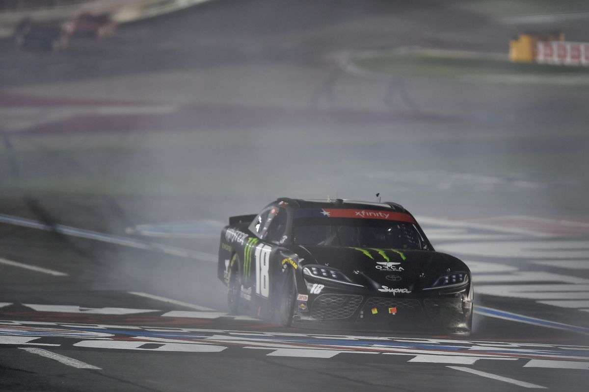 Riley Herbst, driver of the #18 Monster Energy Toyota, spins during the NASCAR Xfinity Series Alsco 300 at Charlotte Motor Speedway on May 25, 2020 in Concord, North Carolina.