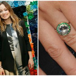 Inspired by his future wife Olivia Wilde's bright green eyes, Jason Sudeikis had her round-cut diamond ring set within a ring of vibrant emerald stones.