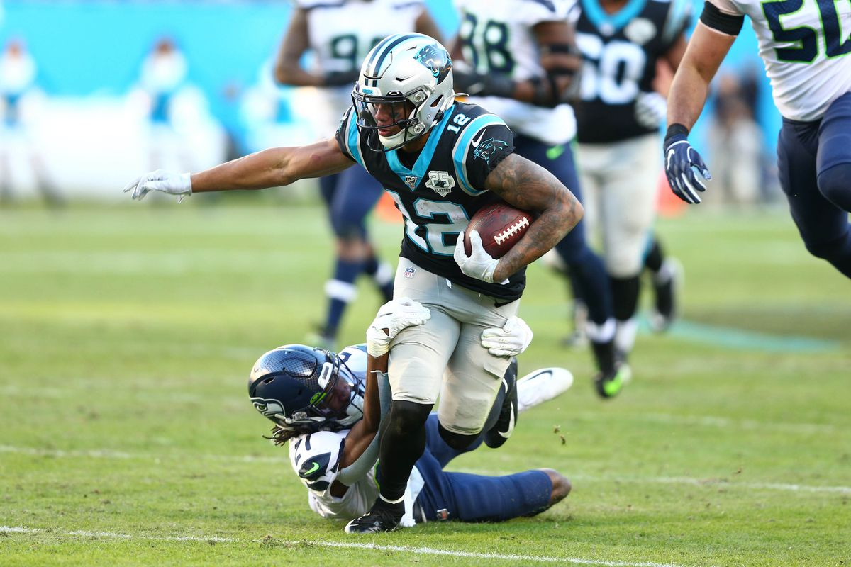 Carolina Panthers wide receiver D.J. Moore gets tackled after a reception in the fourth quarter against the Seattle Seahawks at Bank of America Stadium