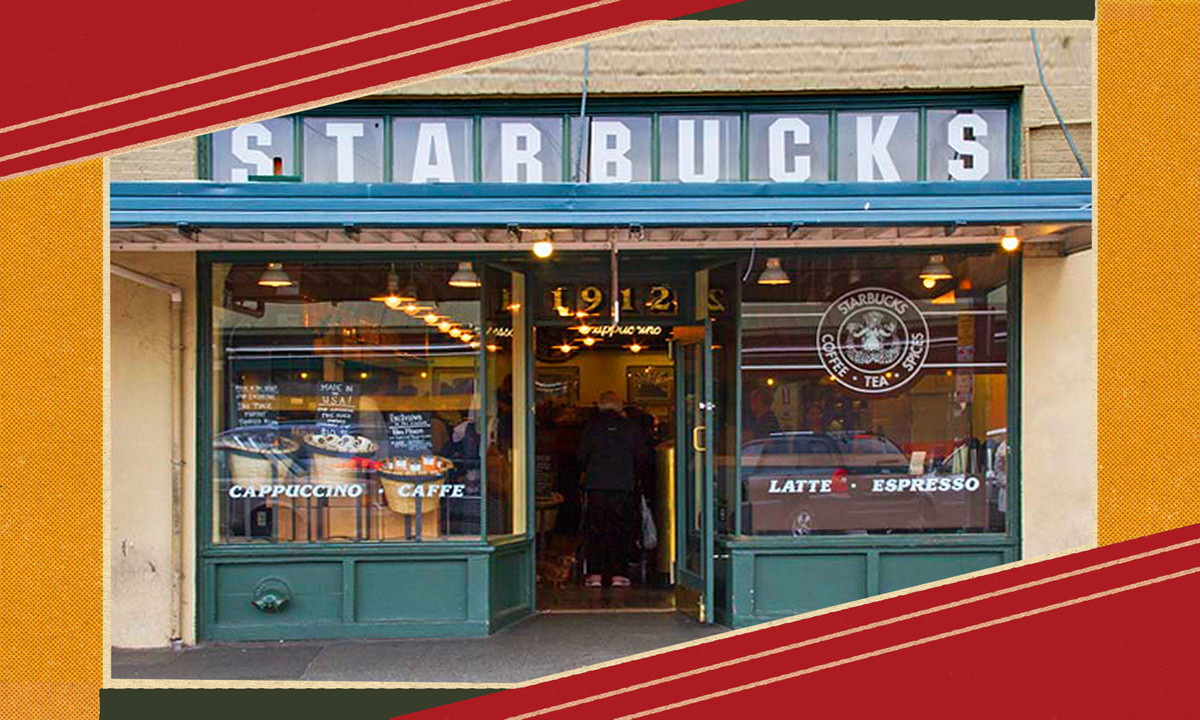 """A faded cafe front with """"Starbucks"""" written on it."""