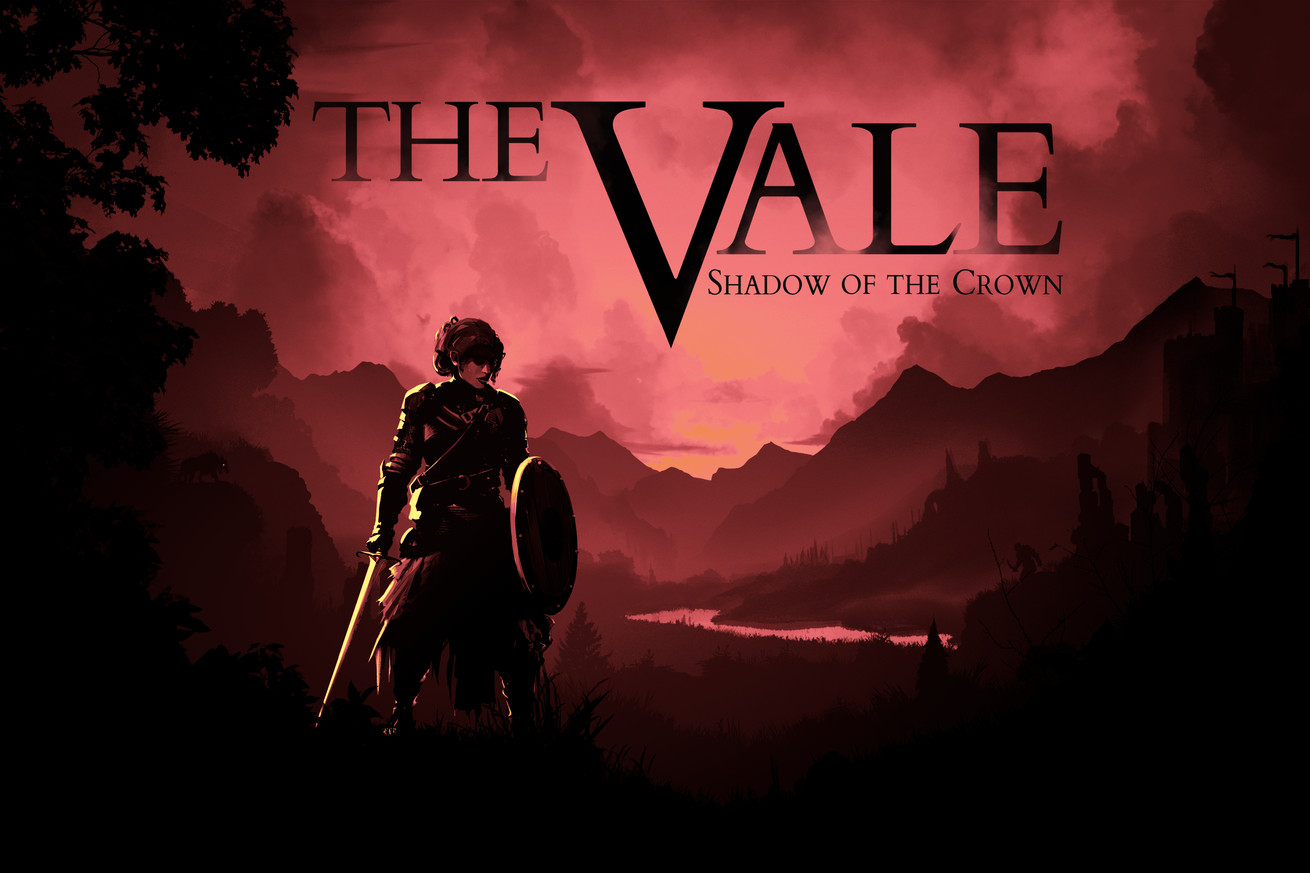 Title screen of The Vale, showing Alex, the player character, holding a sword and shield as she stands in shadow in front of a dark, red-tinted landscape.