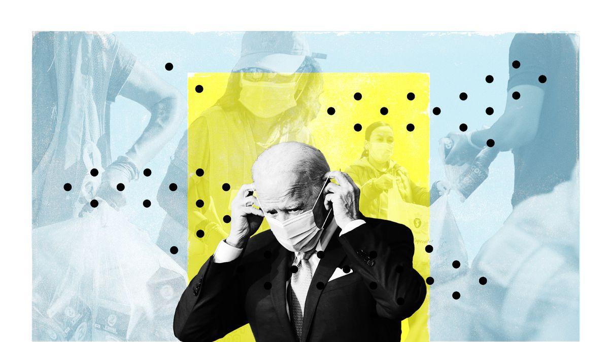 A photo illustration of Joe Biden putting on a mask.