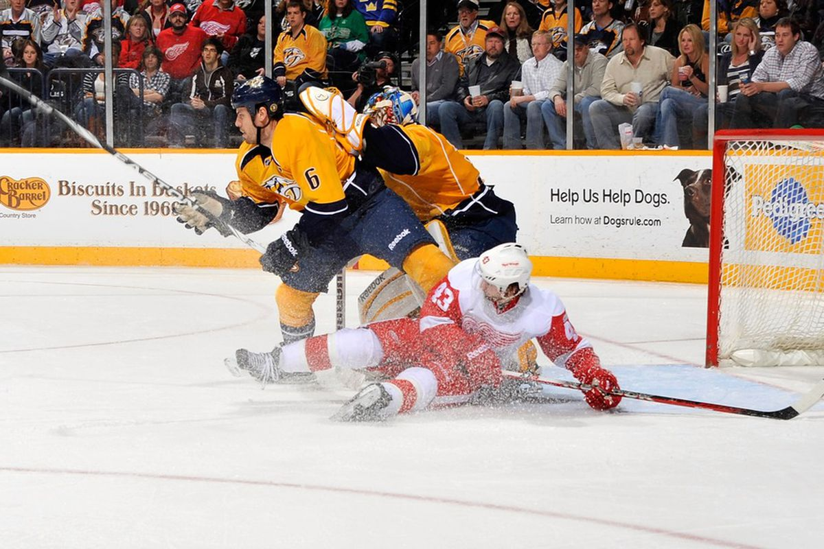 Here is Darren Helm quaking in the shadow of Shea Weber, or something.