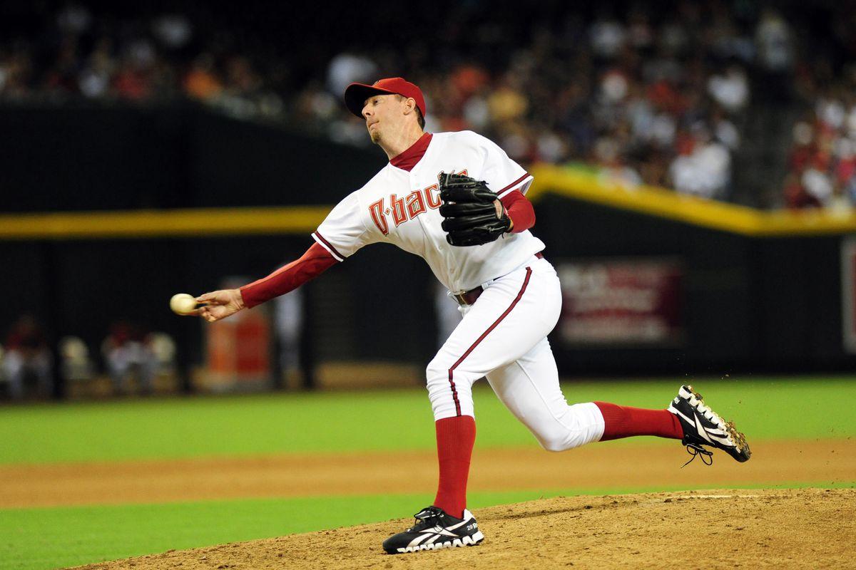 Jul. 27, 2012; Phoenix, AZ, USA; Arizona Diamondbacks pitcher Brad Ziegler (29) throws in the seventh inning against New York Mets at Chase Field. Mandatory Credit: Jennifer Hilderbrand-US PRESSWIRE