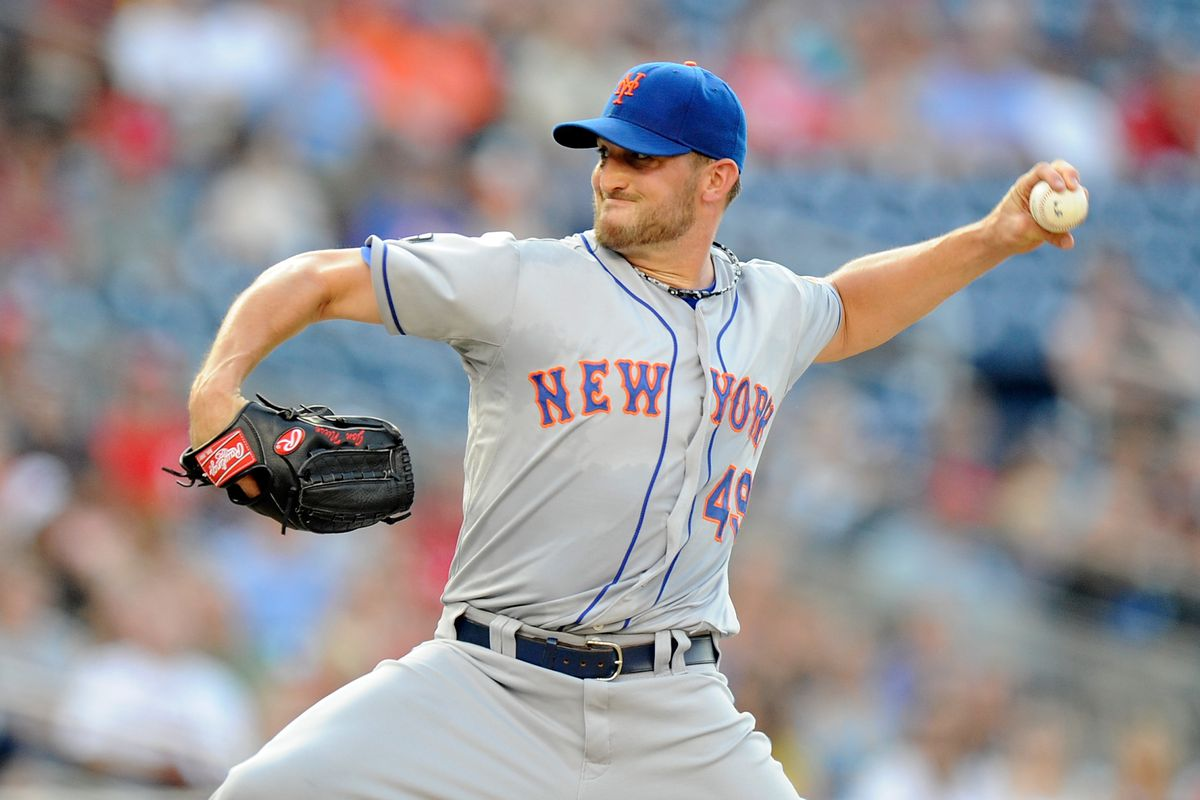 WASHINGTON, DC - JULY 17:  Jon Niese #49 of the New York Mets pitches against the Washington Nationals at Nationals Park on July 17, 2012 in Washington, DC.  (Photo by Greg Fiume/Getty Images)