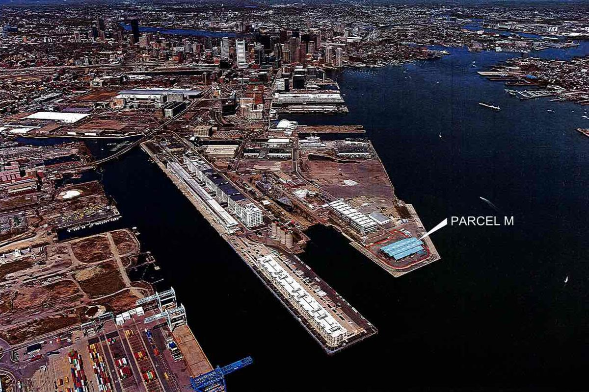 An aerial image of development parcels in South Boston.