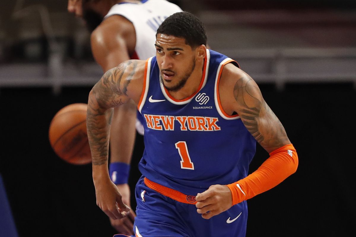 New York Knicks forward Obi Toppin (1) runs back down the court during the second quarter against the Detroit Pistons at Little Caesars Arena.