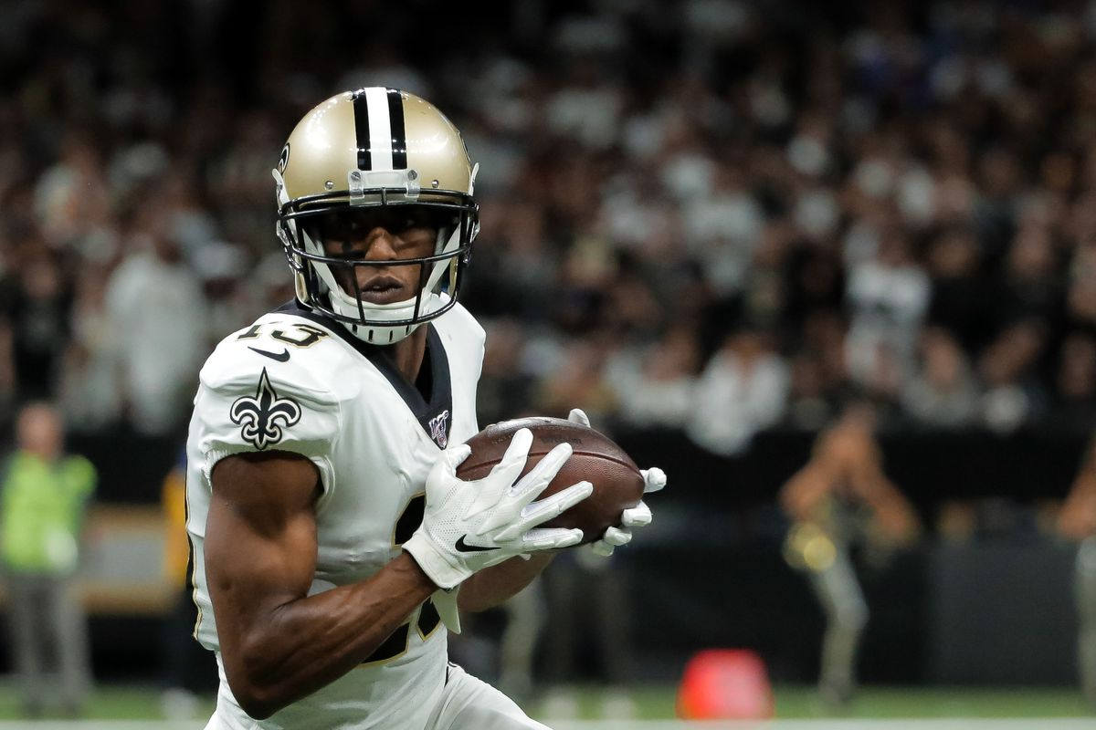 New Orleans Saints wide receiver Michael Thomas runs against the Minnesota Vikings during the first quarter of a NFC Wild Card playoff football game at the Mercedes-Benz Superdome.