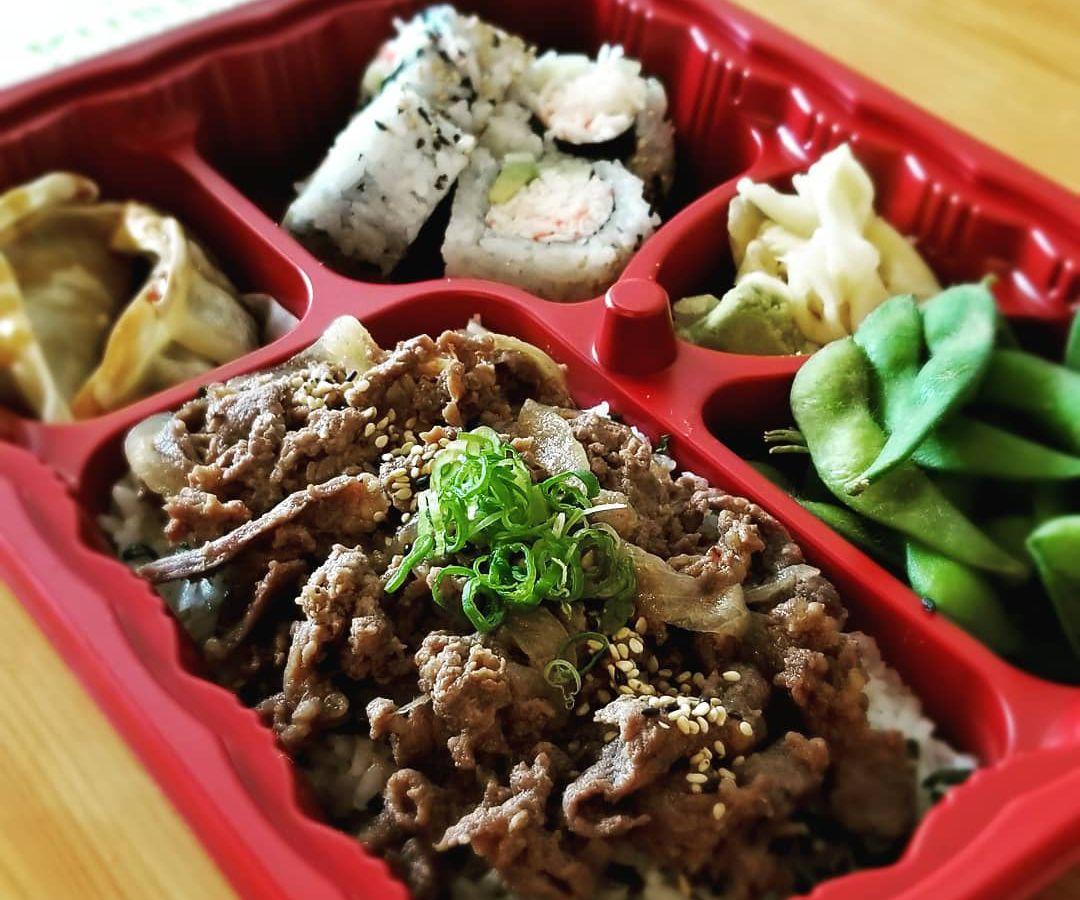 Beef and onion bento box at Kuben