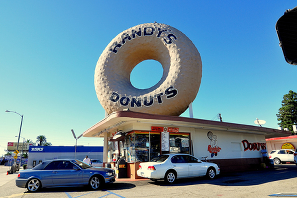 Outside Randy's Donuts, Inglewood.