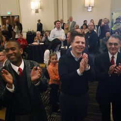Republicans applaud in Salt Lake City, Tuesday, Nov. 4, 2014, as it is announced that the GOP now controls the U.S. Senate.