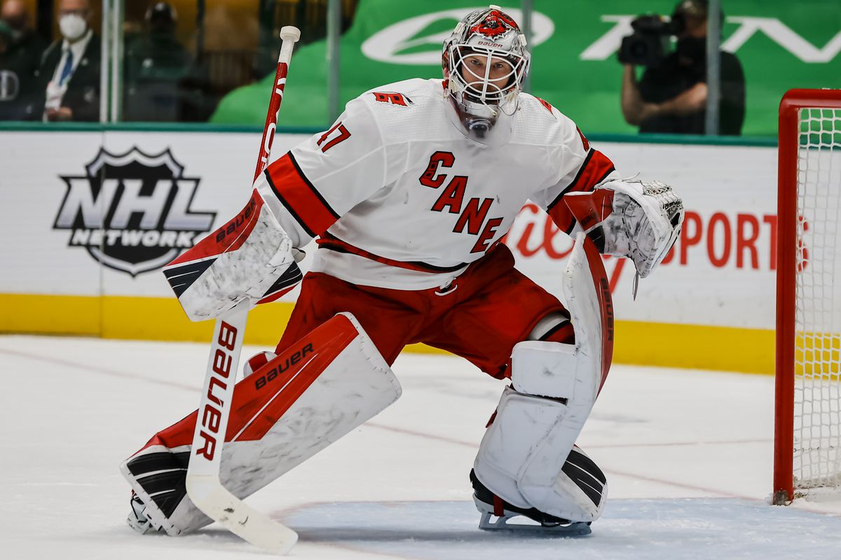 Carolina Hurricanes goaltender James Reimer (47) looks for the puck during the game between the Dallas Stars and the Carolina Hurricanes on April 26, 2021 at the American Airlines Center in Dallas, Texas.
