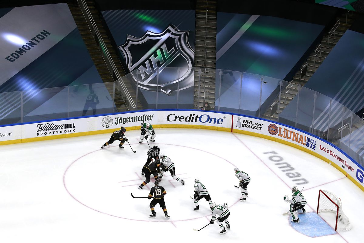 The Dallas Stars and the Vegas Golden Knights face off in the third period in a Western Conference Round Robin game during the 2020 NHL Stanley Cup Playoff at Rogers Place on August 03, 2020 in Edmonton, Alberta.