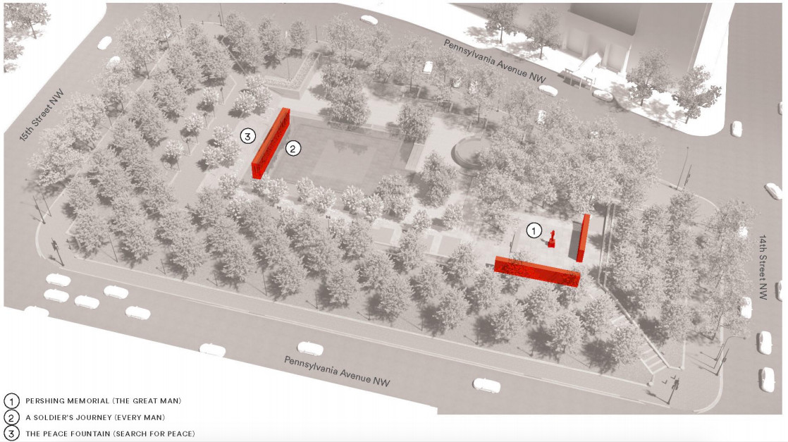 A site plan for a memorial located in park. The park is filled with trees and a few monuments.
