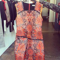 Neon red medallion jacquard dress, $814