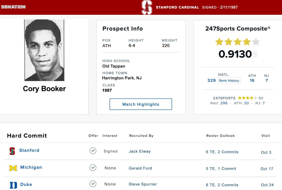 Cory Booker was an elite college football recruit who didn't pan out