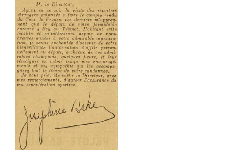 Baker's letter to Desgrange