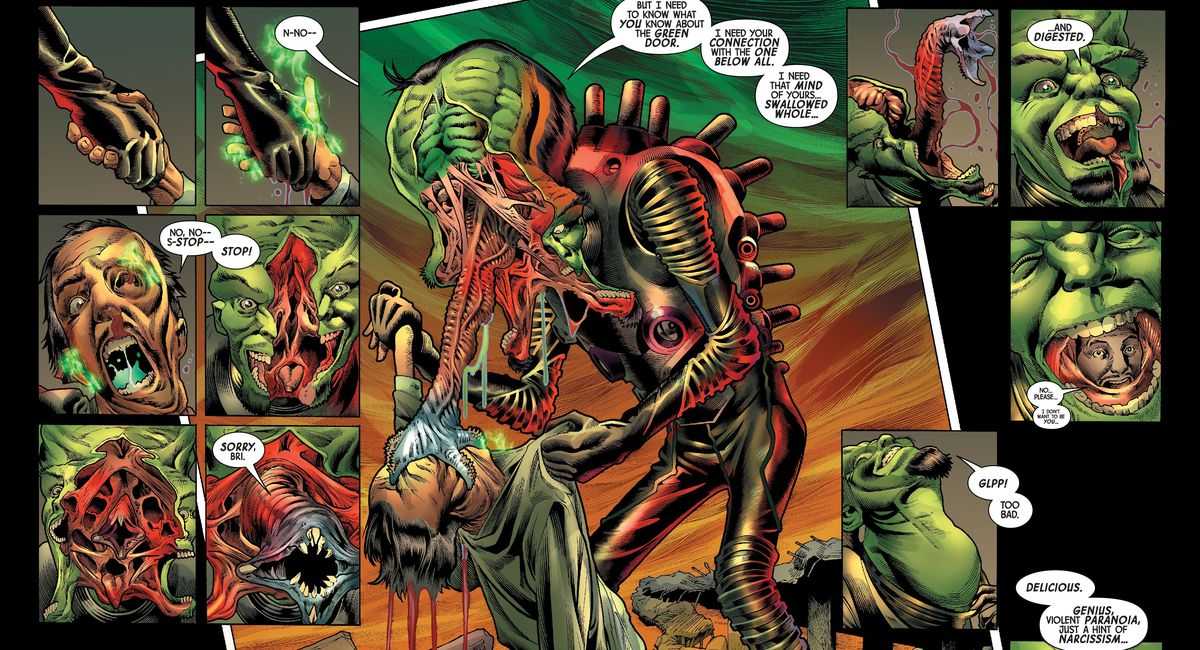 The Leader consumes the soul of Bruce Banner's dead father, his face splitting open to reveal and extend a terrible proboscis with a lampre-like mouth on the end, before retracting into his skull so he can swallow, throat distending grostesquely in Immortal Hulk #39, Marvel Comics (2020).