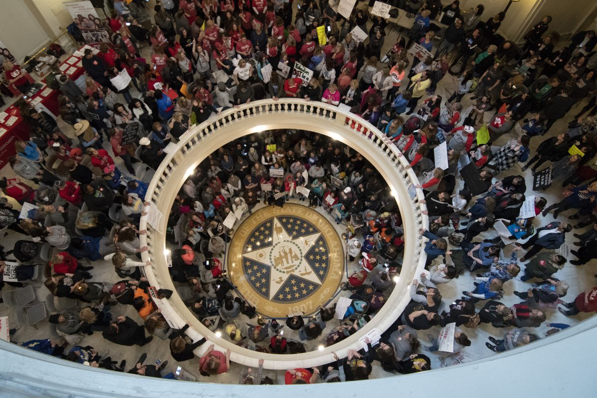 Teachers continue their strike at the state capitol on April 9, 2018 in Oklahoma City, Oklahoma. Thousands of teachers and supporters continue to rally at the state Capitol as Oklahoma becomes the latest state to be plagued by teacher strife. Teachers are
