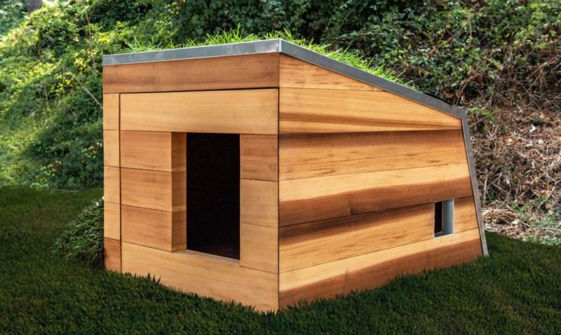 Timber dog house with angled roof