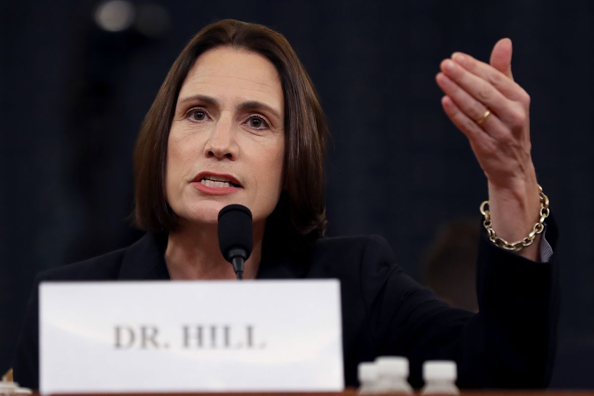 Fiona Hill, the National Security Council's former senior director for Europe and Russia, testifies before the House Intelligence Committee in the Longworth House Office Building on Capitol Hill on Thursday, Nov. 21.