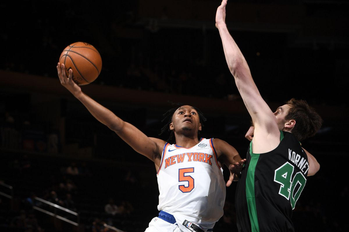 Immanuel Quickley #5 of the New York Knicks shoots the ball during the game against the Boston Celtics on May 16, 2021 at Madison Square Garden in New York City, New York.