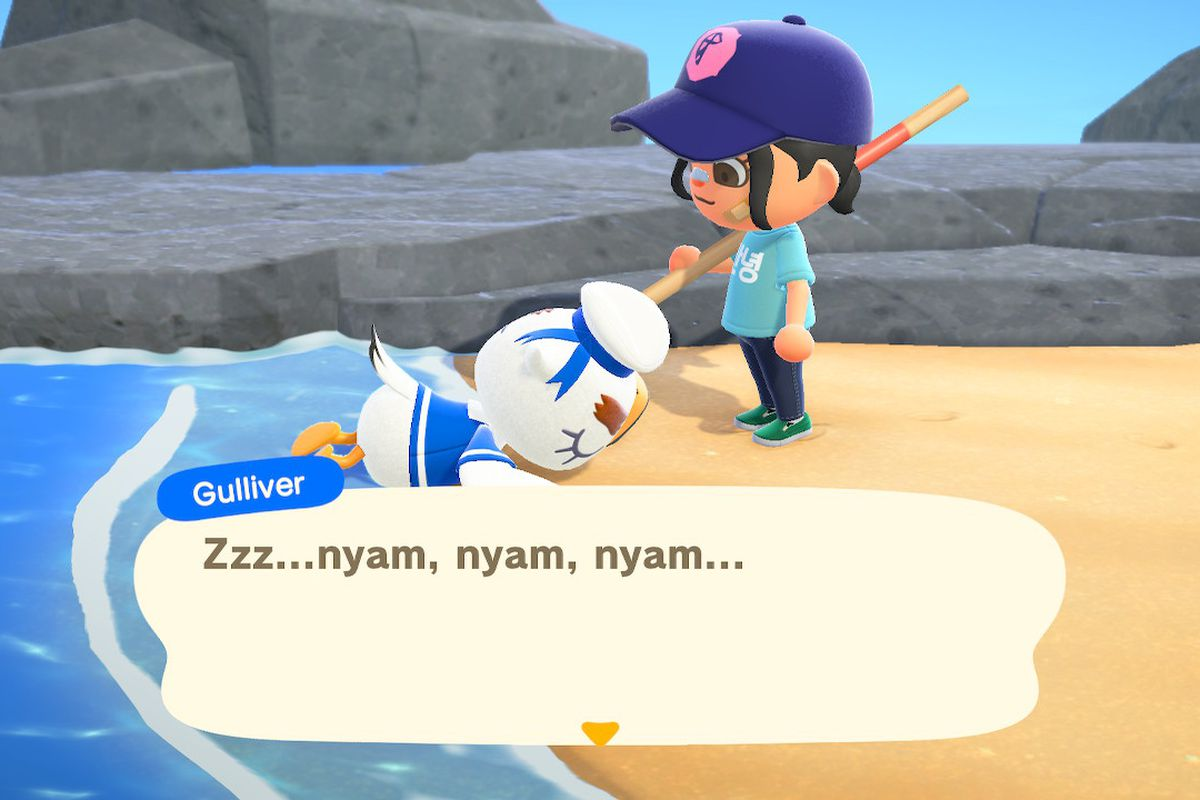 a seagull in a sailor costume is sleeping on a beach next at the feet of a young woman carrying a pole in Animal Crossing: New Horizons