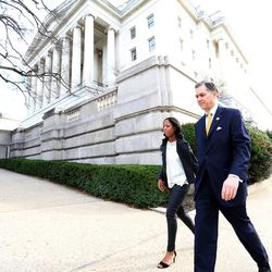 Rep. French Hill, R-Ark., and Rep. Mia Love, R-Utah, walk to the U.S. Capitol to vote in Washington, D.C., on Tuesday, Dec. 8, 2015.