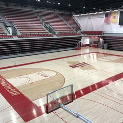Another view of the basketball court. Many of the other lines on the court are used for intramural sports.