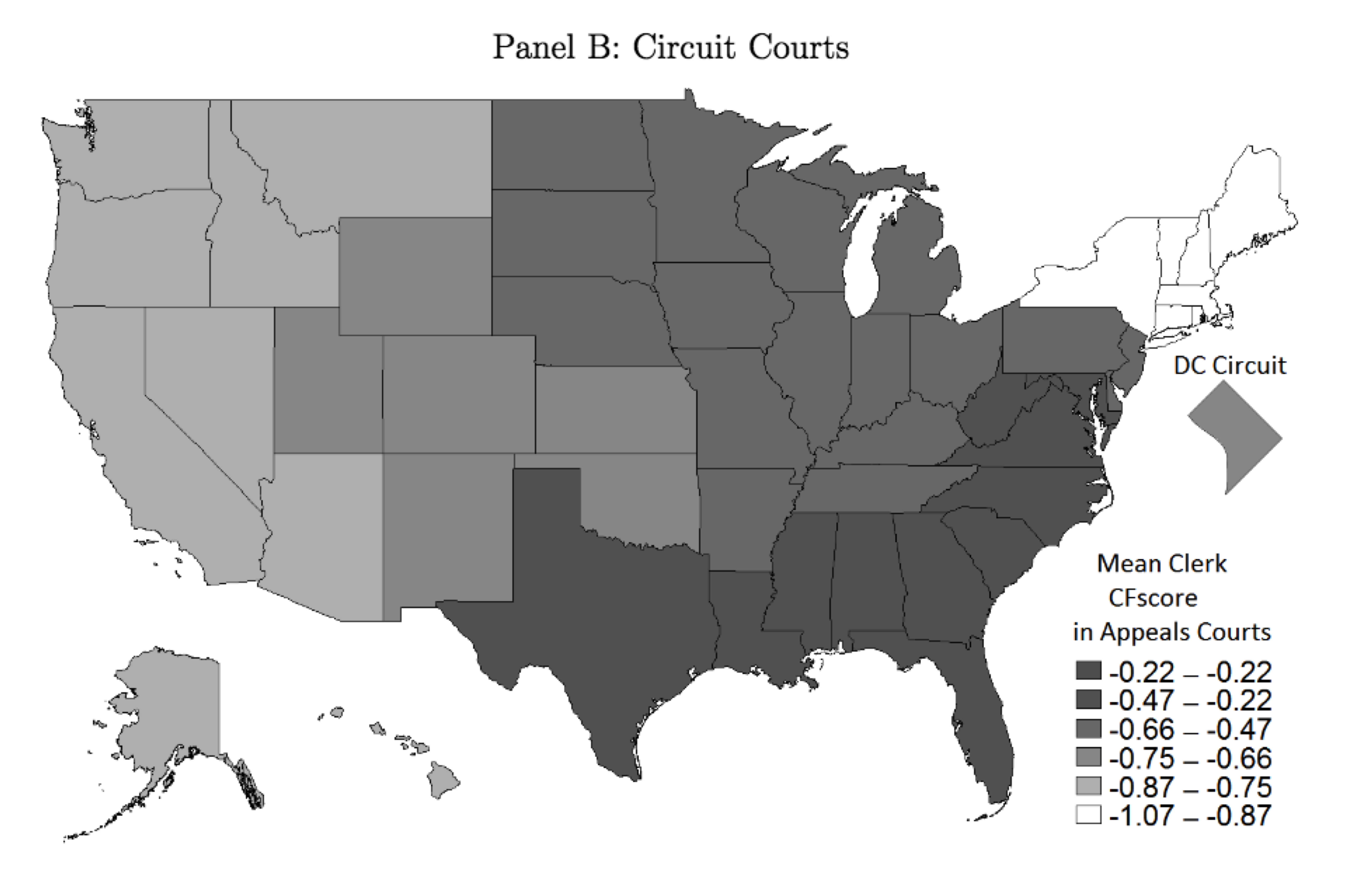 ideology by court as measured by clerks donations