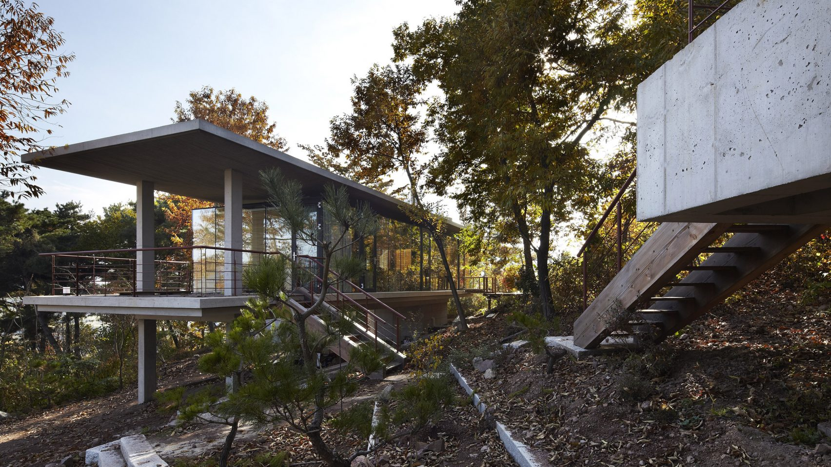 A Cluster Of Concrete Buildings Make Up This Forest Home