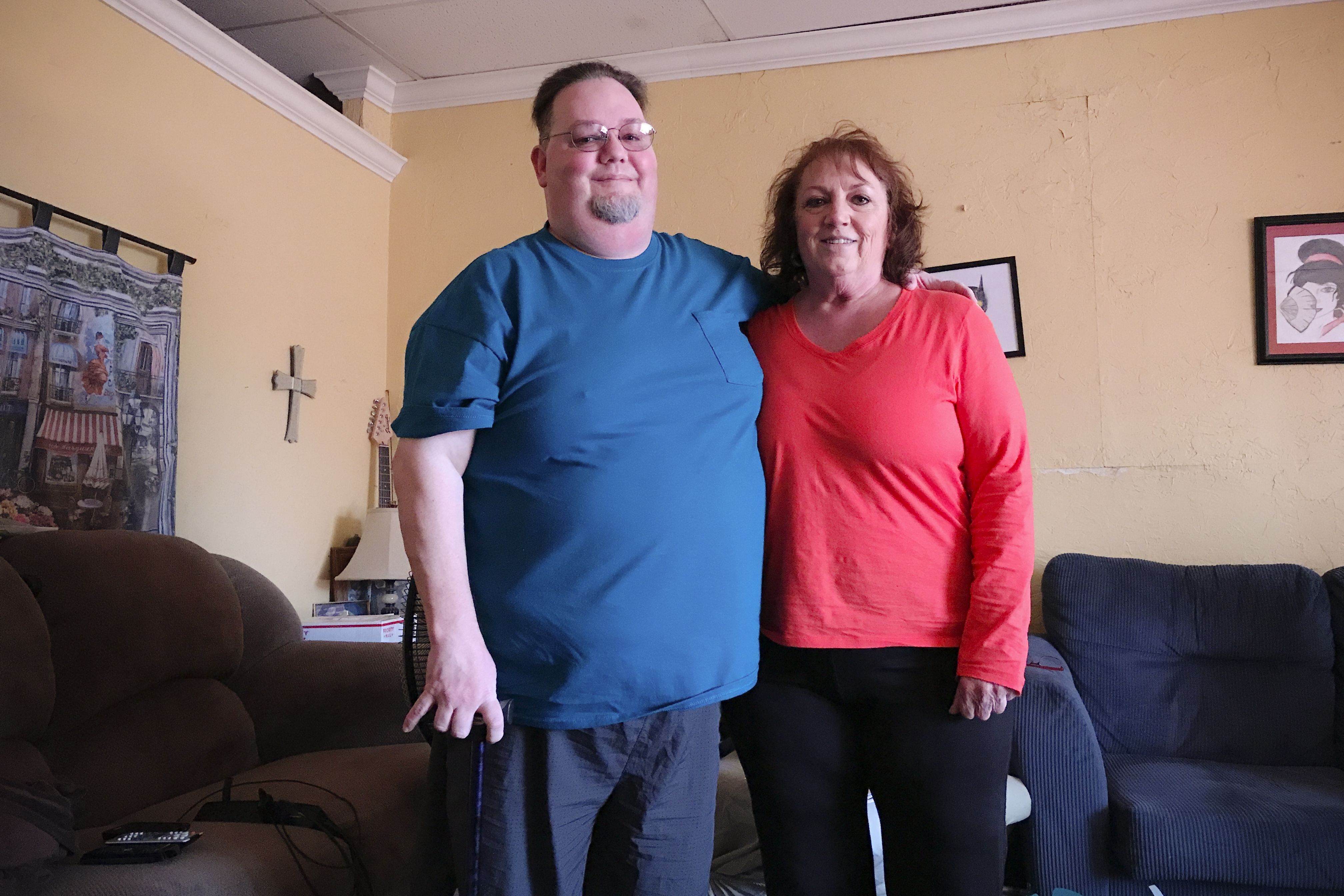 Randy Pitts with his mother, Diane.